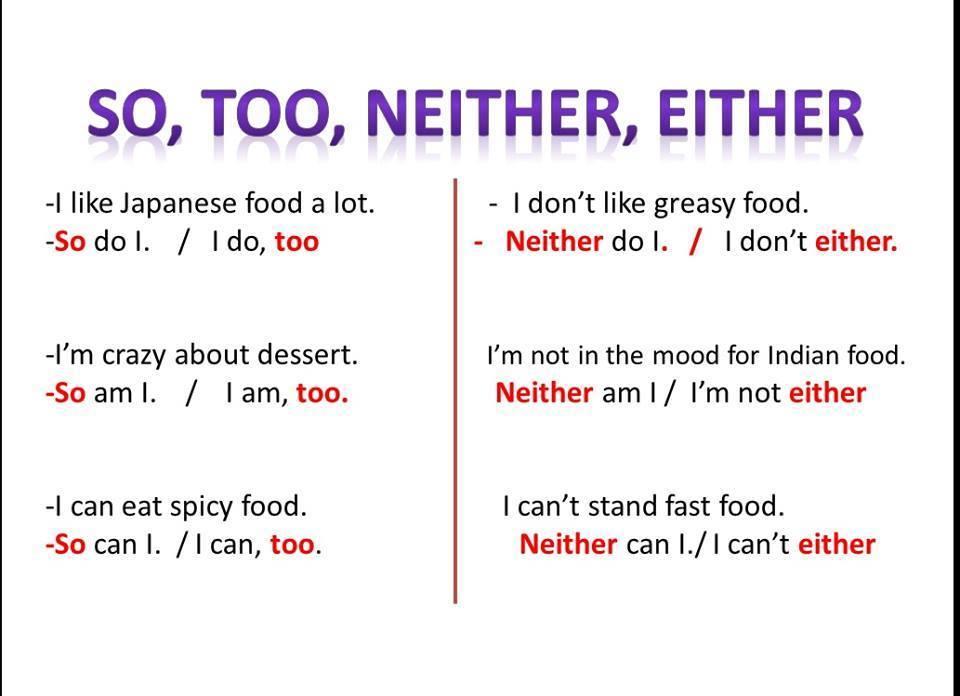 آموزش گرامر انگلیسی so too neither either